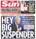 """The Sun voiced a more cheeky confidence vote, with a front page headline of """"Ballsy Boris comes out fighting"""" as they wrote of """"Remainers reeling"""" about Parliament's suspension. (Twitter)"""