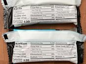 <p>These bars are 120 to 150 calories with zero cholesterol, and have 65 to 70 milligrams of sodium. Each offers two grams of fiber and three to four grams of protein.</p> <p>I love that these are under 150 calories because sometimes you just need a little something to nosh on.</p>