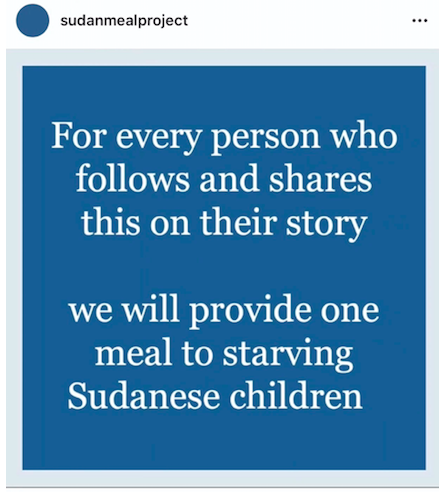 Recently deleted scam account @SudanMealPlan (Courtesy: 'The Atlantic', Instagram)