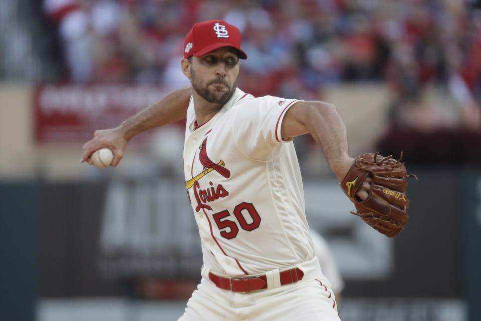 St. Louis Cardinals starting pitcher Adam Wainwright throws during the fourth inning of Game 2 of the baseball National League Championship Series against the Washington Nationals Saturday, Oct. 12, 2019, in St. Louis. (AP Photo/Mark Humphrey)
