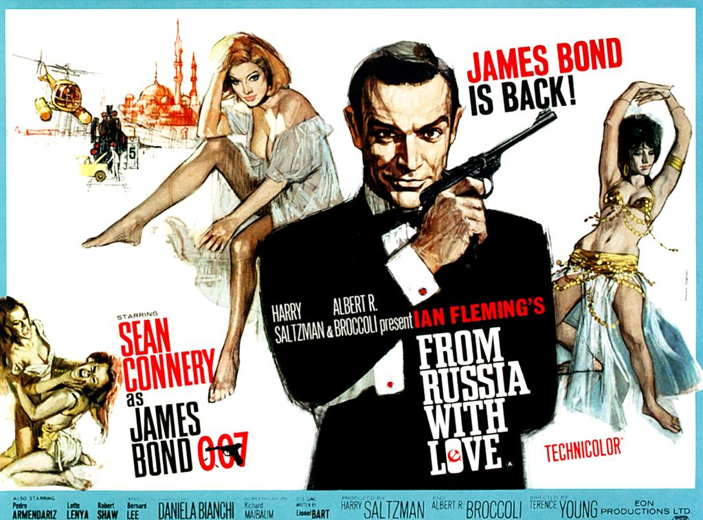 "<a href=""http://movies.yahoo.com/movie/from-russia-with-love/"">FROM RUSSIA WITH LOVE</a> (1963)<br>American movie posters are traditionally taller than they are wide, but British posters are often in the wide, or ""quad,"" format. This is a perfect example of that layout, with a terrific illustration of Sean Connery as Bond that was later reused for the ""From Russia With Love"" video game in 2005."