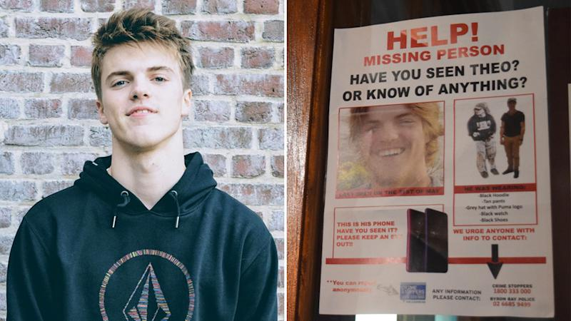 Missing Belgian man Theo Hayez (left). A missing poster showing his face and the last items he was seen wearing (right).