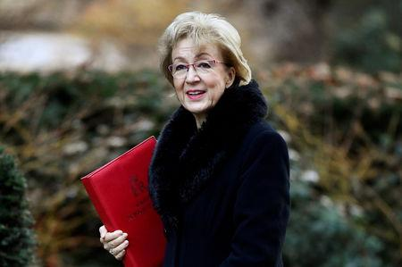 FILE PHOTO: Britain's Conservative Party's leader of the House of Commons Andrea Leadsom arrives at Downing Street in London