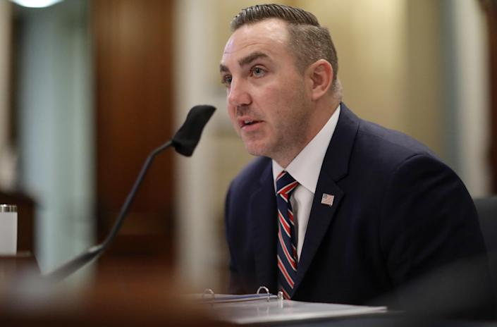 Maj. Adam DeMarco of the District of Columbia National Guard testifies about the June 1 confrontation with protesters at Lafayette Square near the White House during a House Natural Resources Committee hearing on Tuesday. (Leah Millis-Pool/Getty Images)