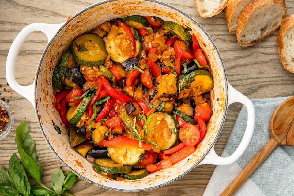 """<p>This classic French countryside dish is chock full of healthy vegetables.</p><p>Get the recipe from <a href=""""https://www.delish.com/cooking/recipe-ideas/recipes/a54463/easy-traditional-ratatouille-recipe/"""" rel=""""nofollow noopener"""" target=""""_blank"""" data-ylk=""""slk:Delish"""" class=""""link rapid-noclick-resp"""">Delish</a>.</p>"""