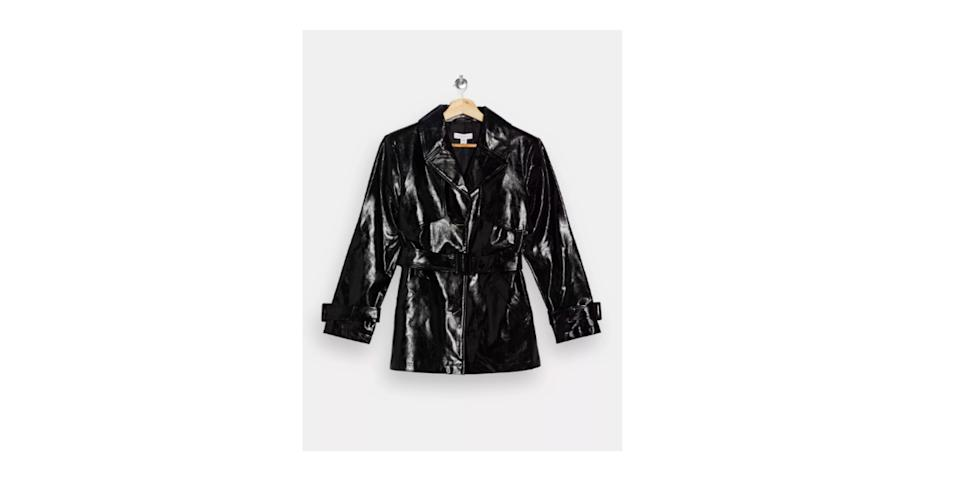 best winter coats: Topshop Vinyl Belted Shacket