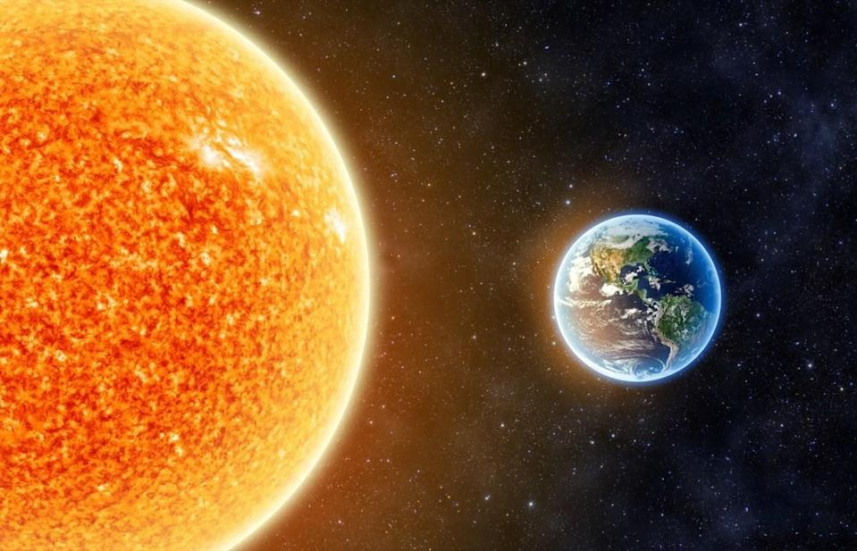 """Earth doesn't feel so enormous once you learn that the sun alone makes up somewhere between 99.8 and <a href=""""http://earthguide.ucsd.edu/virtualmuseum/ita/08_1.shtml"""" rel=""""nofollow noopener"""" target=""""_blank"""" data-ylk=""""slk:99.9 percent of all the mass in the entire solar system"""" class=""""link rapid-noclick-resp"""">99.9 percent of all the mass in the entire solar system</a>, according to the experts at University of California, San Diego. The rest is split between the planets and their satellites, as well as the comets, asteroids, dust, and gas."""
