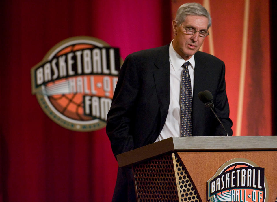 In this 2009 file image, Utah Jazz head coach Jerry Sloan delivers his acceptance speech during his induction into the Naismith Memorial Basketball Hall of Fame at Symphony Hall. (Robert Willett/Raleigh News & Observer/MCT)