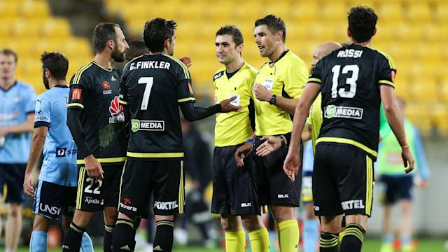 A meeting between Wellington Phoenix and Sydney FC saw the technology used for the first time after the match officials initially waved away protests