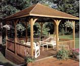 """<p>Enjoy the sun—without the sunburn—with the help of this free plan for a gazebo specially designed to provide plenty of shade. This gazebo features a louvred roof that allows air to circulate while protecting you from the elements. </p><p><strong>Get the tutorial at <a href=""""https://books.google.ca/books?id=qeMDAAAAMBAJ&pg=PA73&redir_esc=y#v=onepage&q&f=false"""" rel=""""nofollow noopener"""" target=""""_blank"""" data-ylk=""""slk:Home & Shop Journal"""" class=""""link rapid-noclick-resp"""">Home & Shop Journal</a>. </strong></p>"""