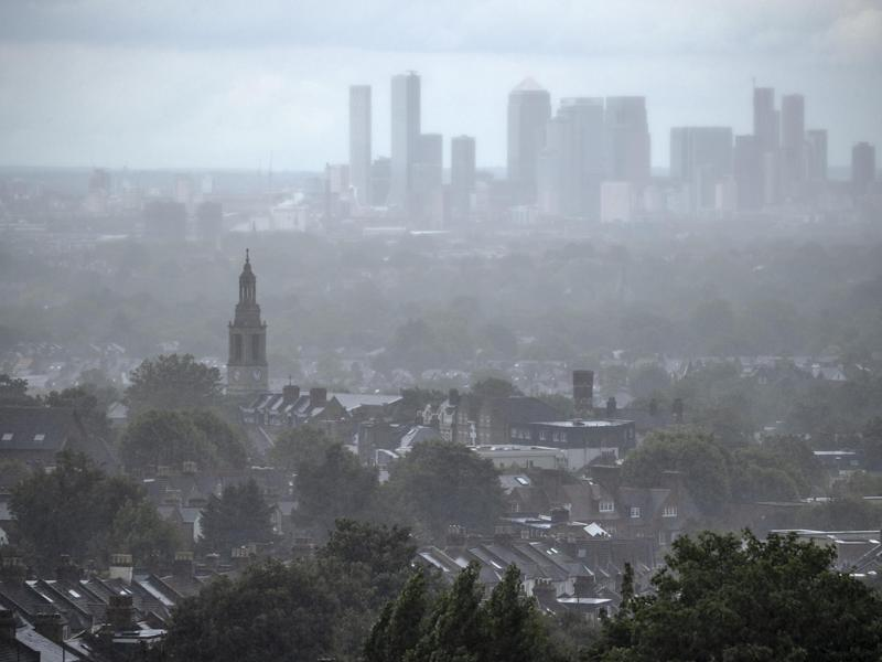 Rain falls over houses in south London on 1 July, 2020: Dan Kitwood/Getty Images