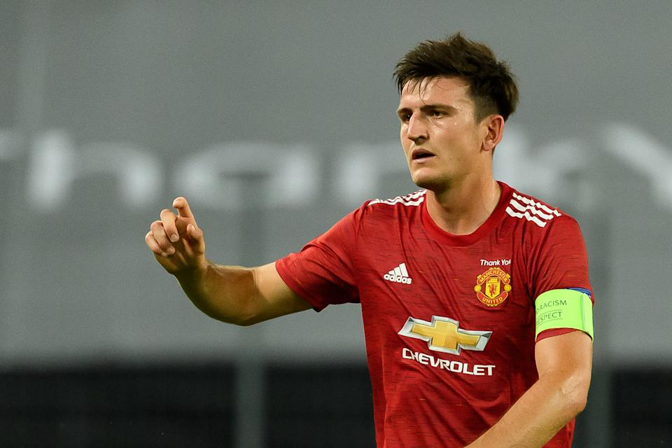 Manchester United captain Harry Maguire is in trouble. (Alex Gottschalk/Getty Images)