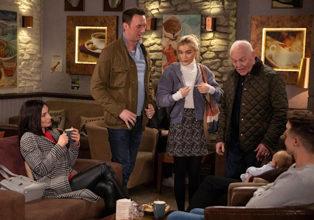 Leanna Cavanagh's [MIMI SLINGER] suspicions about Liam Cavanagh [JONNY McPHERSON] and Leyla Harding [ROXY HARDING] are confirmed when she clocks Leyla flirting with him at the cafe. (ITV Plc)