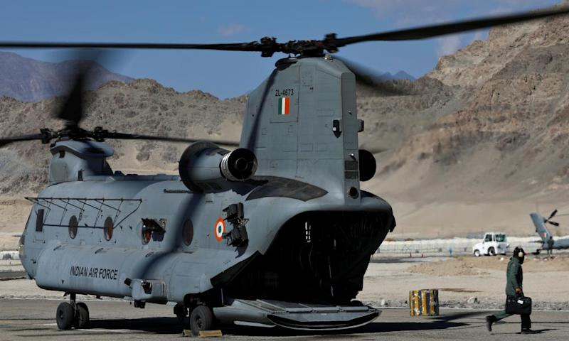 An Indian air force Chinook helicopter carrying supplies prepares to take off from a forward airbase in Leh, in the Ladakh region, on 15 September.