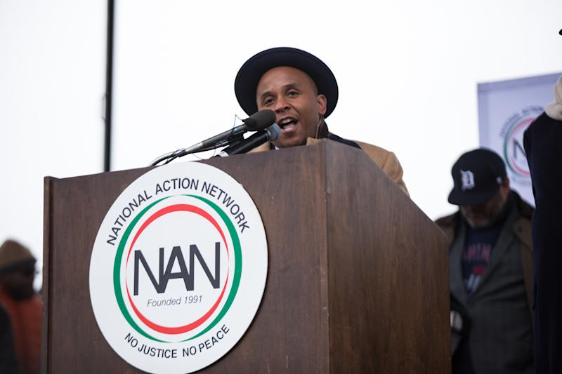 Rashad Robinson, Executive Director, Color of Change, addresses the crowd at the We Shall Not Be Moved march in Washington D.C. (Photo: Cheriss May/NurPhoto via Getty Images)