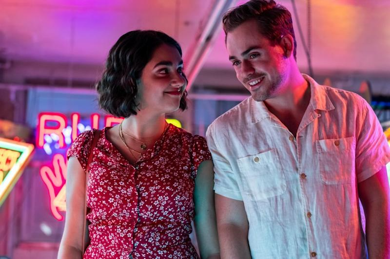 "Geraldine Viswanathan and Dacre Montgomery in the movie ""The Broken Hearts Gallery."""