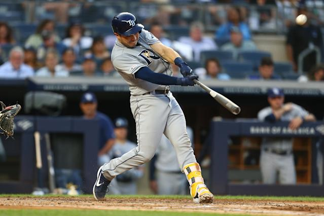 "Travis d'Arnaud connects for his second home run of the game in the third inning against the <a class=""link rapid-noclick-resp"" href=""/mlb/teams/ny-yankees/"" data-ylk=""slk:Yankees"">Yankees</a> Monday night in the Bronx, but there was more to come for the Mets castoff catcher."
