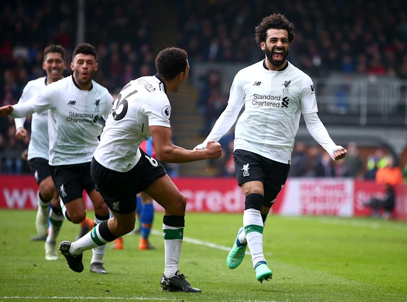 Mohamed Salah celebrates against Crystal Palace