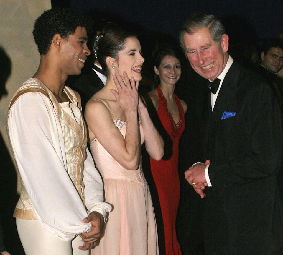 <p>Prince Charles is clearly enjoying himself as he speaks with ballet dancers Darcey Bussell and Carlos Acosta at the Royal Opera House in 2004.</p>
