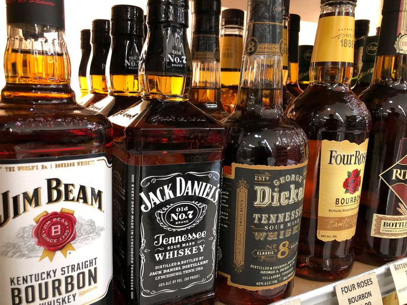 A bottle of Jack Daniels is shown for sale among other brands in the liquor section of a food market in Encinitas, California