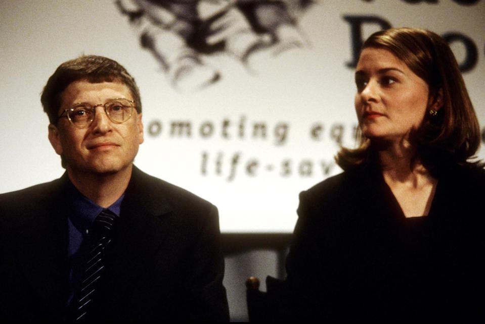 """Bill Gates and Melinda Gates in New York City in December 1998.<span class=""""copyright"""">Ron Galella—Ron Galella Collection/Getty Images</span>"""