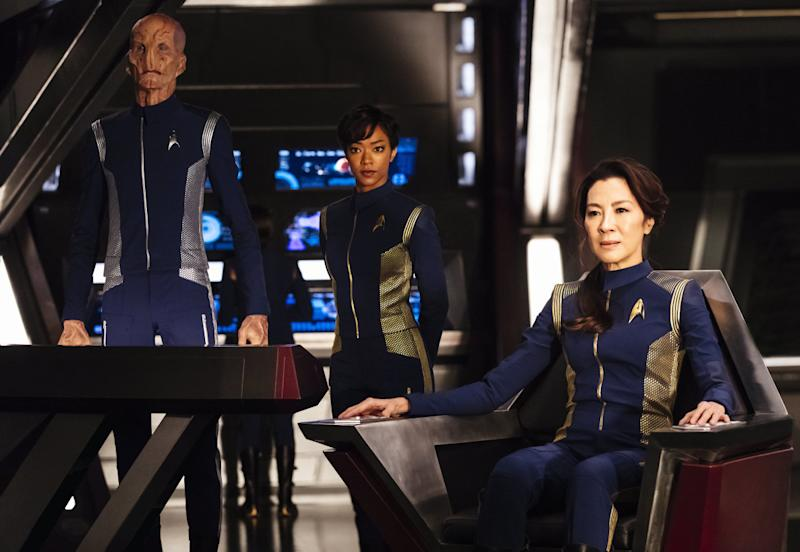 "Doug Jones, Sonequa Martin-Green and Michelle Yeoh in ""Star Trek: Discovery."" (CBS)"