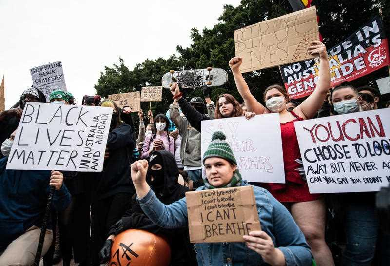 Protesters gather during a Black Lives Matter protest, following the death in Minneapolis police custody of George Floyd, in Sydney.