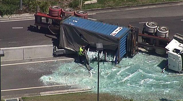The large truck rolled over at around 9am this morning. Source: Supplied.