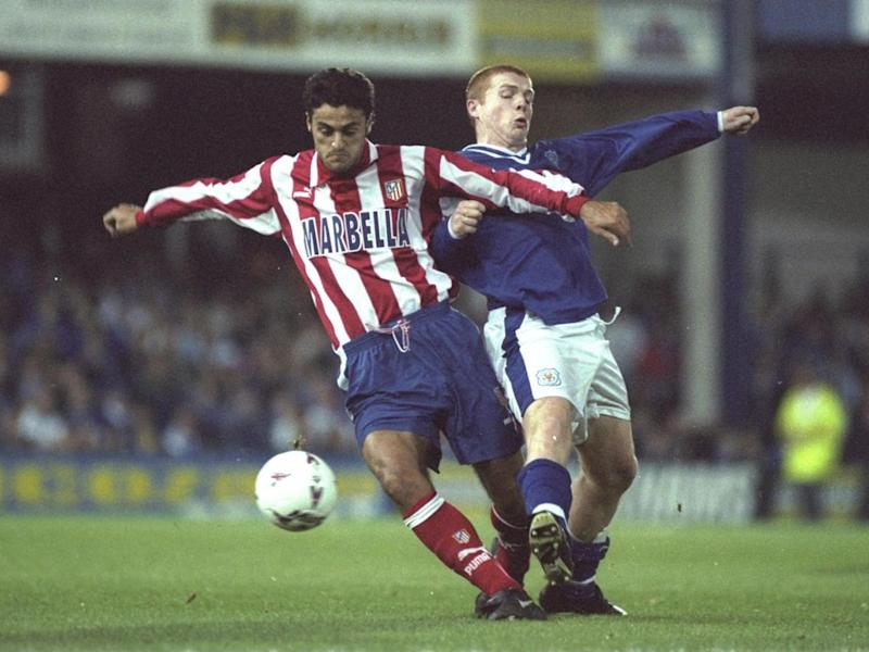 Leicester's Neil Lennon playing against Atletico Madrid in 1997 (Getty)