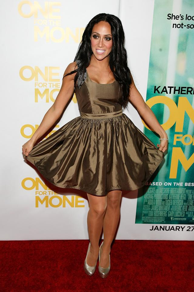 """NEW YORK, NY - JANUARY 24:  Melissa Gorga attends the """"One for the Money"""" premiere at the AMC Loews Lincoln Square on January 24, 2012 in New York City.  (Photo by Andy Kropa/Getty Images)"""