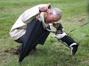 <p>Prince Charles greets Camilla's dog, Beth, during a visit to Dumfries House garden party and dog show.</p>