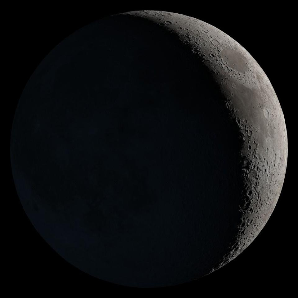 <p>The small sliver of moon that we see in the night sky at the beginning of its growth cycle is called a waxing crescent. It will continue to grow in illumination. </p>