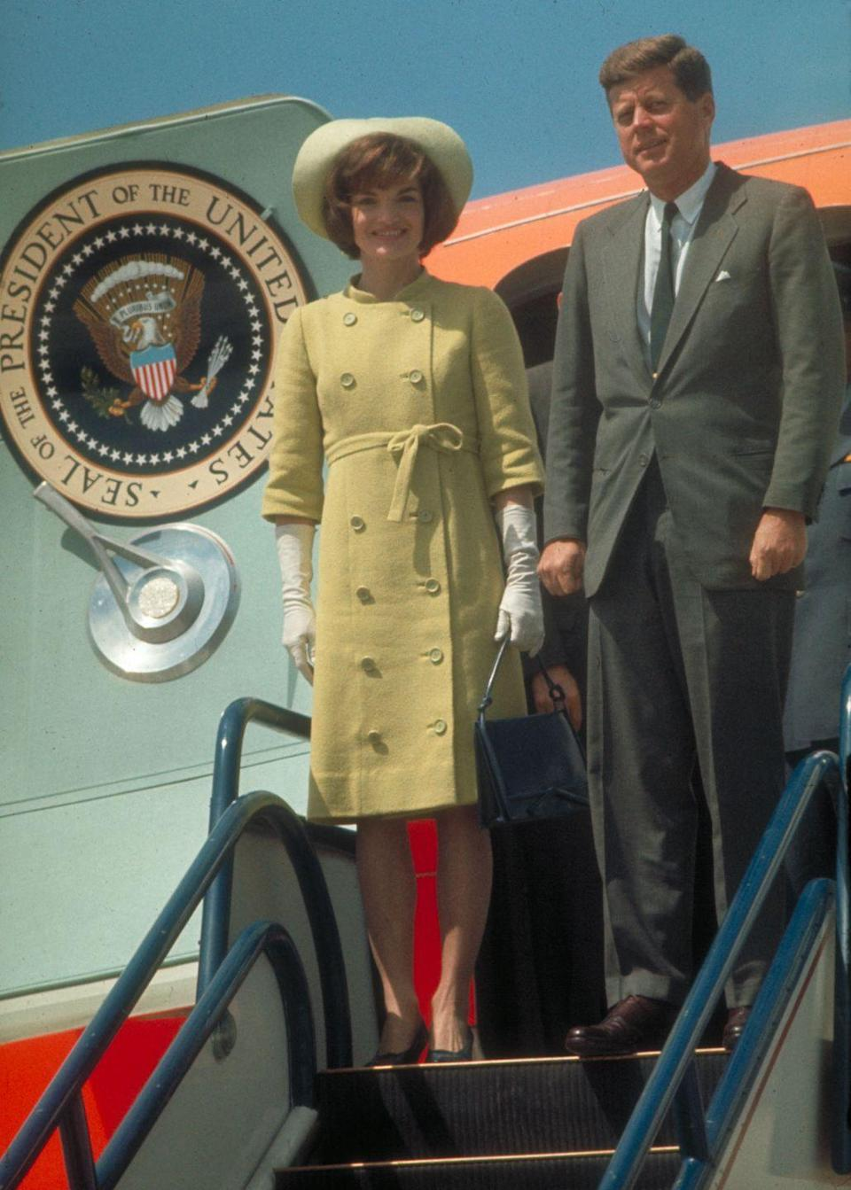 <p>Jackie and JFK on Air Force One as they arrive in Latin America. </p>