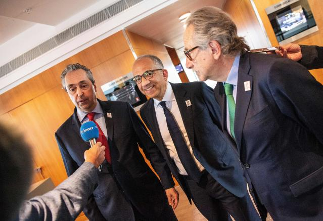 Carlos Cordeiro (center) has been working to secure the United 2026 World Cup bid for the United States, Mexico and Canada. (Getty)