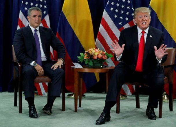 PHOTO: President Donald Trump speaks at a bilateral meeting with Colombia's President Ivan Duque during the 73rd session of the United Nations General Assembly at U.N. headquarters in New York, Sept. 25, 2018. (Carlos Barria/Reuters)