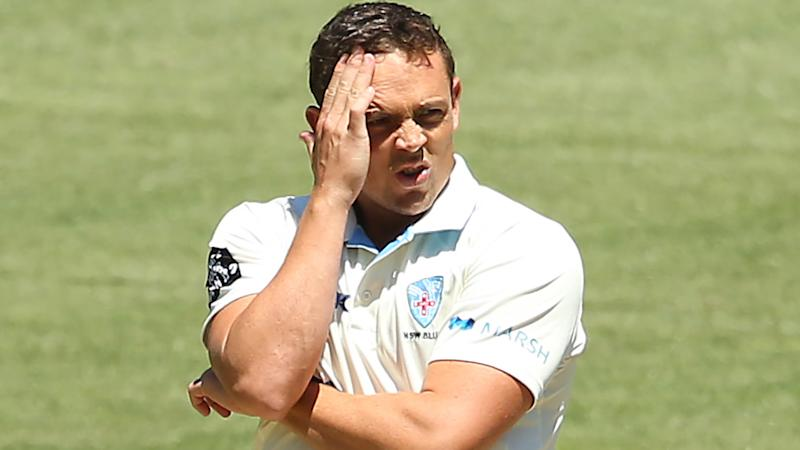 Steve O'Keefe reacts after a delivery during day two of the Sheffield Shield match between Victoria and New South Wales at Melbourne Cricket Ground on November 30, 2019 in Melbourne, Australia. (Photo by Mike Owen/Getty Images)