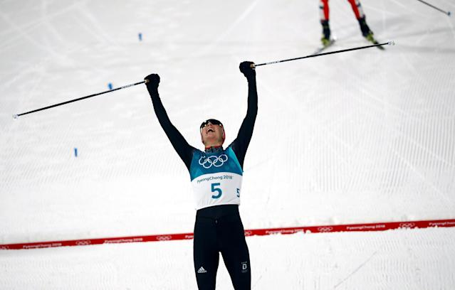 Nordic Combined Events – Pyeongchang 2018 Winter Olympics – Men's Individual 10km Final – Alpensia Cross-Country Skiing Centre - Pyeongchang, South Korea – February 14, 2018 - Eric Frenzel of Germany celebrates his win. REUTERS/Kai Pfaffenbach TPX IMAGES OF THE DAY