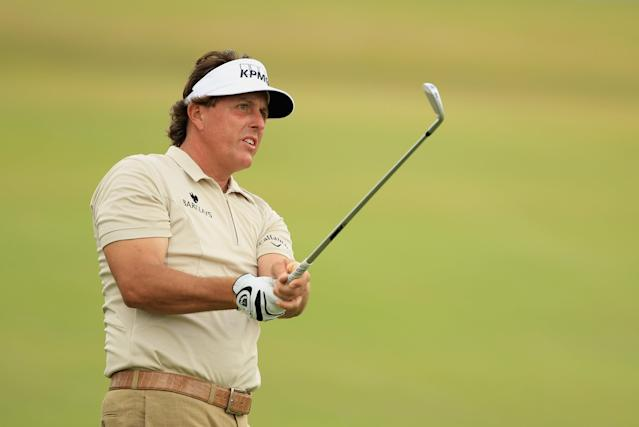MIAMI, FL - MARCH 08: Phil Mickelson watches a shot on the 18th hole during first round of the World Golf Championships-Cadillac Championship on the TPC Blue Monster at Doral Golf Resort And Spa on March 8, 2012 in Miami, Florida. (Photo by Scott Halleran/Getty Images)