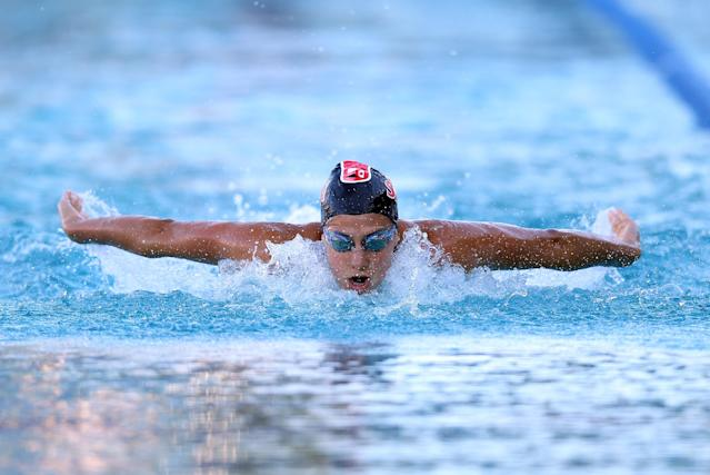 SANTA CLARA, CA - JUNE 03: Stephanie Rice swims the butterfly in the women's 200 meter IM final during day 4 of the Santa Clara International Grand Prix at George F. Haines International Swim Center on June 3, 2012 in Santa Clara, California. (Photo by Ezra Shaw/Getty Images)