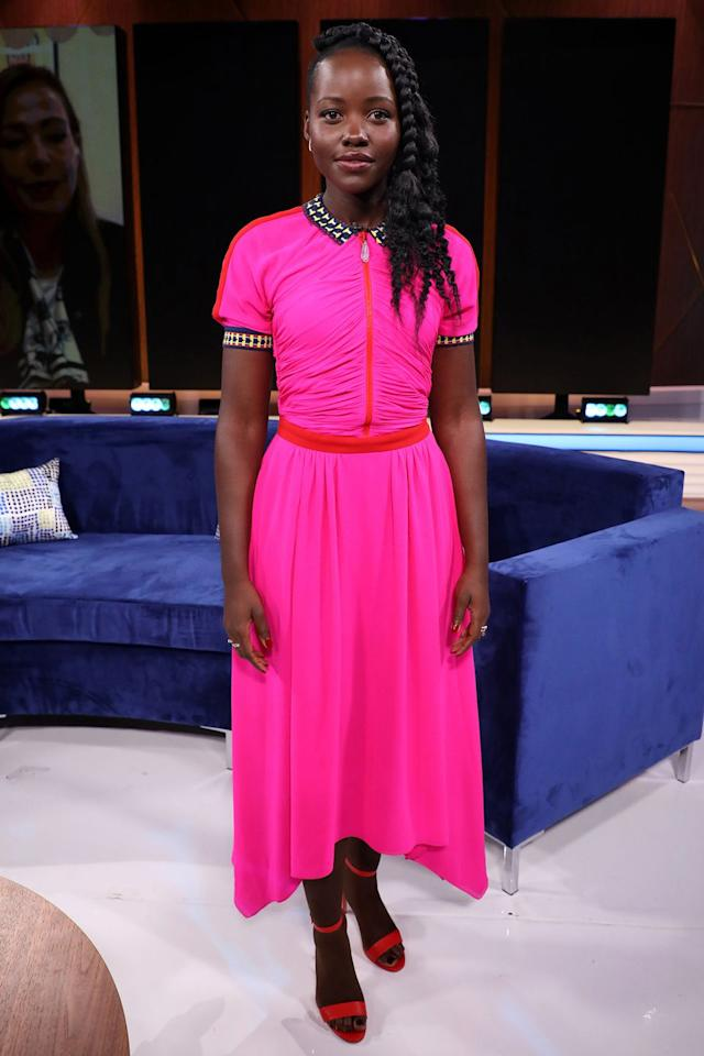 """<p><strong>21 March </strong>Lupita Nyong'o opted for a vibrant pink Schiaparelli design <a rel=""""nofollow"""" href=""""https://www.harpersbazaar.com/uk/culture/culture-news/a26868673/lupita-nyongo-why-female-villains-terrify-us-more-than-men/"""">when promoting her new film </a><em><a rel=""""nofollow"""" href=""""https://www.harpersbazaar.com/uk/culture/culture-news/a26868673/lupita-nyongo-why-female-villains-terrify-us-more-than-men/"""">Us</a></em> in Miami. </p>"""