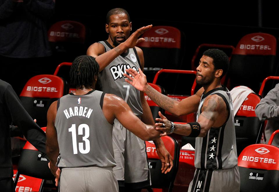 Kevin Durant, James Harden and Kyrie Irving have played just seven games together this season.