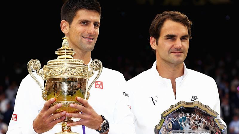 Novak Djokovic and Roger Federer, pictured here after the 2015 Wimbledon final.