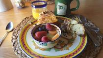 """<p><a href=""""https://www.tripadvisor.com/Hotel_Review-g47224-d79823-Reviews-Old_Taos_Guesthouse_B_B-Taos_Taos_County_New_Mexico.html"""" rel=""""nofollow noopener"""" target=""""_blank"""" data-ylk=""""slk:Old Taos Guesthouse Bed & Breakfast"""" class=""""link rapid-noclick-resp"""">Old Taos Guesthouse Bed & Breakfast</a> in Taos</p><p>""""I have never felt so bummed to pack up. The charm, breath taking scenery, and tranquility of this cozy gem of an Inn washes over you right when you pull up.<span class=""""redactor-invisible-space""""> The home-cooked breakfast every morning is perhaps the most awesome part of the stay. What a way to start the the day.<span class=""""redactor-invisible-space"""">"""" - Yelp user <a href=""""https://www.yelp.com/user_details?userid=H0W68jL9D6oN58W2ZNXBmw"""" rel=""""nofollow noopener"""" target=""""_blank"""" data-ylk=""""slk:Stefanie T."""" class=""""link rapid-noclick-resp"""">Stefanie T.</a></span></span></p>"""