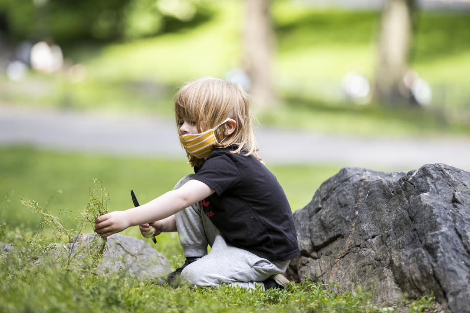 MANHATTAN, NY - MAY 24: On Memorial Day weekend a child wears a mask (personal protective equipment) while taking a plastic knife to some overgrown grass in Central Park.  On May 24, New York State Governor Andrew Cuomo states that New York State is decidedly in the reopening stage and that residents can help the reopening by wearing personal protective equipment to prevent more outbreaks of the Coronavirus pandemic.  Photographed in Central Park in the Manhattan borough of New York on May 24, 2020, USA.  (Photo by Ira L. Black/Corbis via Getty Images)