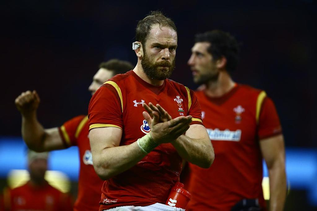 Wales' lock Alun Wyn Jones applauds supporters after the Six Nations international rugby union match between Wales and Ireland at the Principality Stadium in Cardiff, south Wales, on March 10, 2017.Wales won the game 22-9. (AFP Photo/Geoff CADDICK)