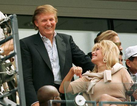 Developer Donald Trump talks with his former wife Ivana Trump during the men's final at the U.S. Open tennis tournament September 7, 1997. REUTERS/Mike Blake