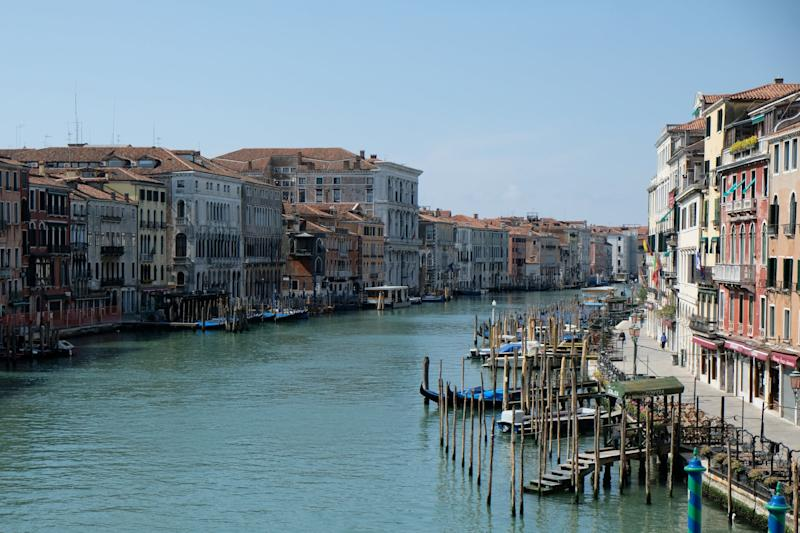 A general view of Grand Canal, which is almost deserted, seen from the Rialto Bridge, during Italy's coronavirus lockdown: REUTERS