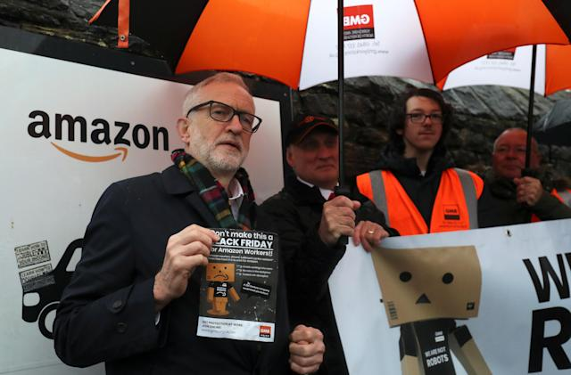 Britain's Labour party leader Jeremy Corbyn outside Amazon's depot in Sheffield, Britain, on 23 November. Photo: Scott Heppell/Reuters