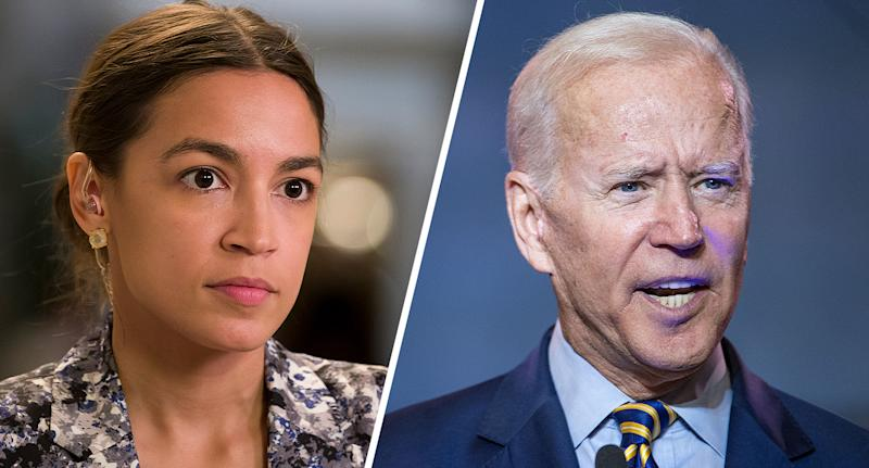 Rep. Alexandria Ocasio-Cortez and former Vice President Joe Biden. (Photos: Alex Brandon/AP, Sean Rayford/Getty Images)