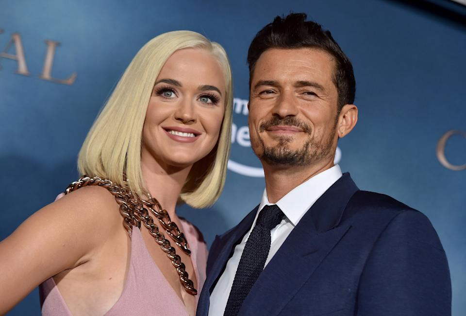 """Katy Perry and Orlando Bloom attend the LA Premiere of Amazon's """"Carnival Row"""" at TCL Chinese Theatre on August 21, 2019 in Hollywood, California. (Photo by Axelle/Bauer-Griffin/FilmMagic)"""